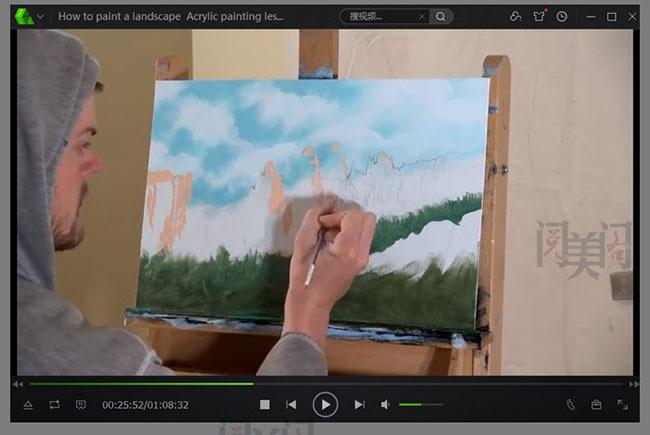 高清丙烯视频教程 大师丙烯风景画技法示范教程