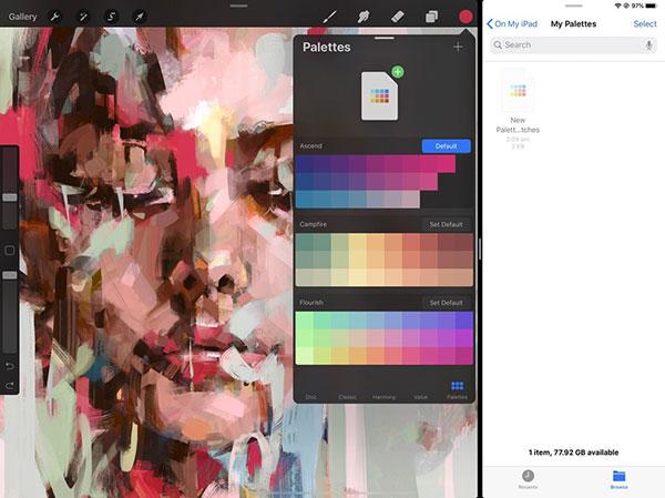 从 Procreate 社区中找一份现成的调色板下载并导入,它们会出现在你的调色板库中。
