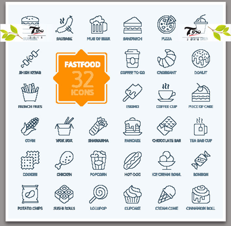 美食餐饮西餐海鲜食材手机APP软件网页UI界面图标设计矢量素材图
