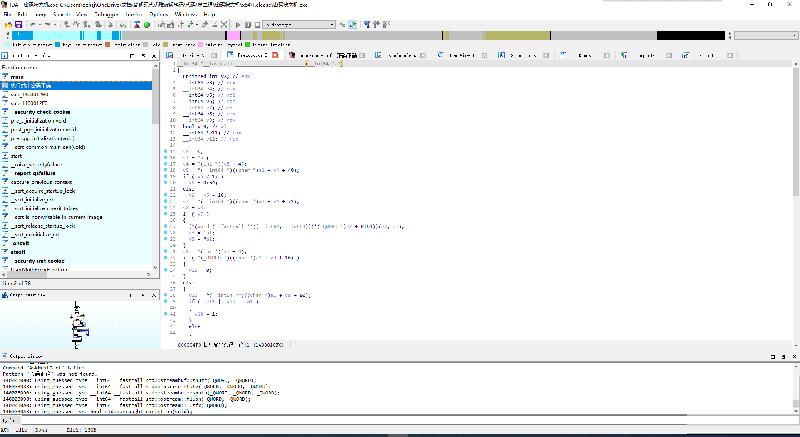 """虽然反编译窗口这边没能正常显示中文,但左边函数窗口中出现了""""执行输出密码正确""""函数"""